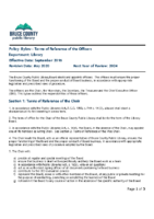 Bylaw – Terms of Reference of the Officers