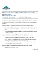 Governance – Duties and Responsibilities of Individual Board Members